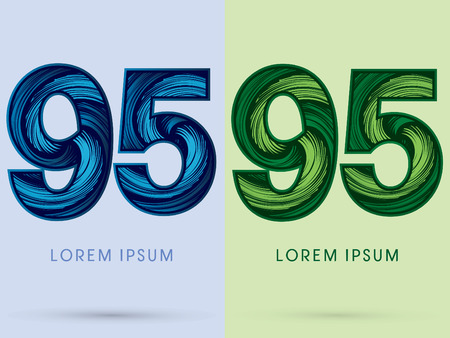 spin: 95 ,Abstract , font, concept Spin water, wind and natural, designed using blue and green grunge brush, sign.