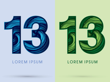 spin: 13 ,Abstract , font, concept Spin water, wind and natural, designed using blue and green grunge brush, sign.