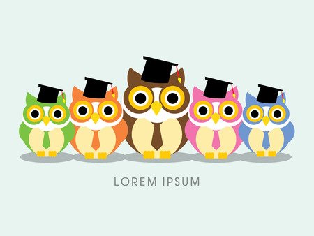 college education: Owl Knowledge, Friends ,sign ,  symbol, icon, graphic, vector. Illustration