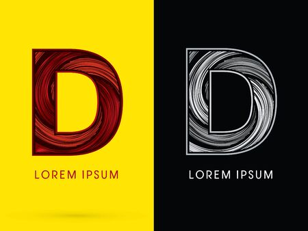 spin: D ,Abstract , font, concept  Spin, designed using red,black and white, grunge brush, sign.