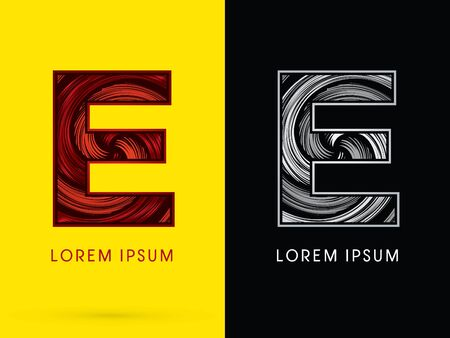 e ink: E ,Abstract , font, concept  Spin, designed using red,black and white, grunge brush, sign.