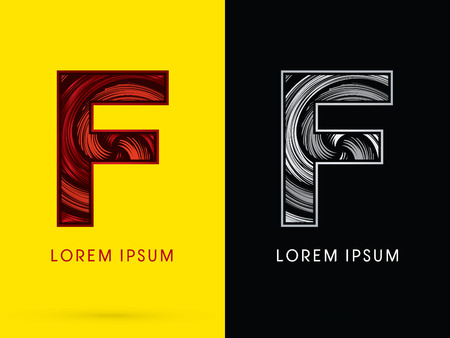 spin: F ,Abstract , font, concept  Spin, designed using red,black and white, grunge brush, sign.