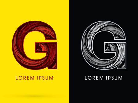 spin: G ,Abstract , font, concept  Spin, designed using red,black and white, grunge brush, sign.