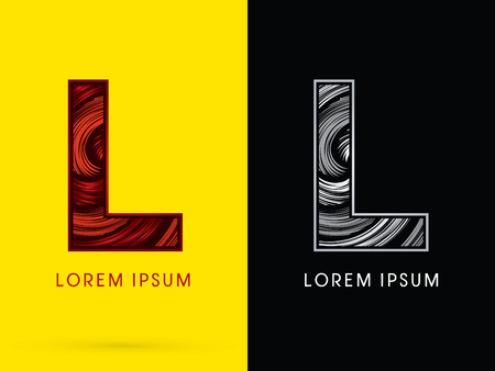 spin: L ,Abstract , font, concept  Spin, designed using red,black and white, grunge brush, sign. Illustration