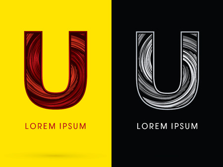 U ,Abstract , font, concept  Spin, designed using red,black and white, grunge brush, sign.