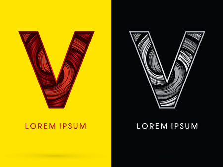 v cycle: V ,Abstract , font, concept  Spin, designed using red,black and white, grunge brush, sign.
