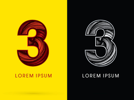 third birthday: 3 ,Abstract , font, concept  Spin, designed using red,black and white, grunge brush, sign.