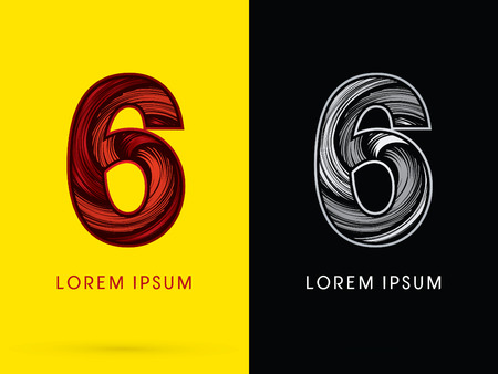 spin: 6 ,Abstract , font, concept  Spin, designed using red,black and white, grunge brush, sign. Illustration