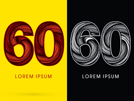 spin: 60 ,Abstract , font, concept  Spin, designed using red,black and white, grunge brush, sign. Illustration