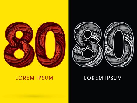 spin: 80 ,Abstract , font, concept  Spin, designed using red,black and white, grunge brush, sign.