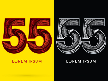 spin: 55 ,Abstract , font, concept  Spin, designed using red,black and white, grunge brush, sign.