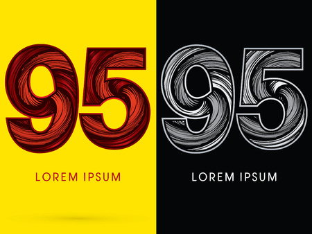 spin: 95 ,Abstract , font, concept  Spin, designed using red,black and white, grunge brush, sign.