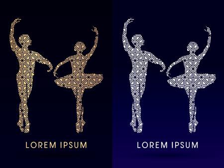 male ballet dancer: Silhouette Ballet, dance, designed using gold and silver geometric shape