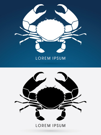 crab: Silhouette Big Crab and big pincers, designed using water line, graphic vector.