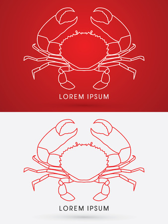 pincers: Outline Big Crab and big pincers, graphic vector.