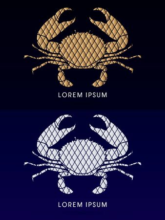 pincers: Big Crab and big pincers, designed using gold and silver geometric shape, graphic vector. Illustration