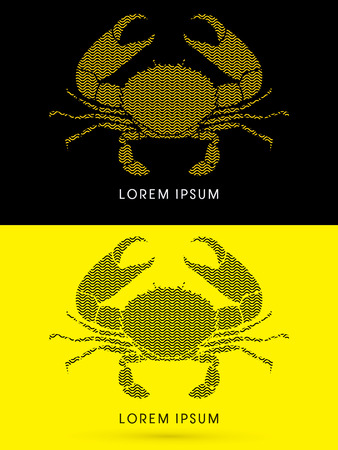 crabby: Big Crab and big pincers, designed using zigzag line, graphic vector.