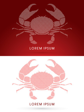pincers: Big Crab and big pincers, designed using square and dot, graphic vector.
