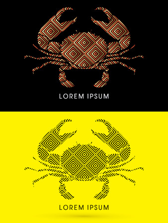 pincers: Big Crab and big pincers, designed using  line geometric shape, graphic vector. Illustration