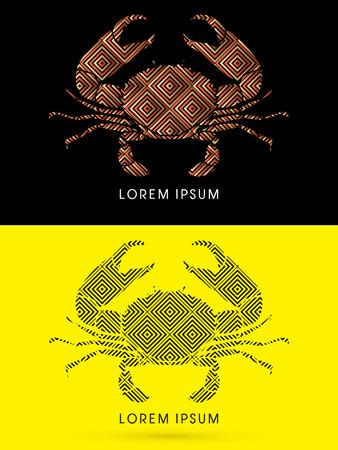 tenailles: Big crabe et grandes pinces, con�u en utilisant la ligne forme g�om�trique, vecteur graphique. Illustration