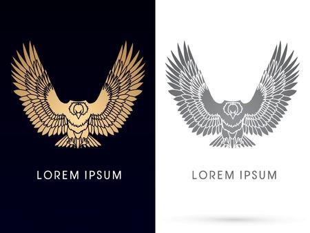 Luxe eagle of havik vliegen, verspreiden de vleugels, vector. Stock Illustratie