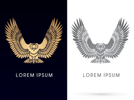 Luxury eagle or hawk flying, spread the wings , vector. Çizim