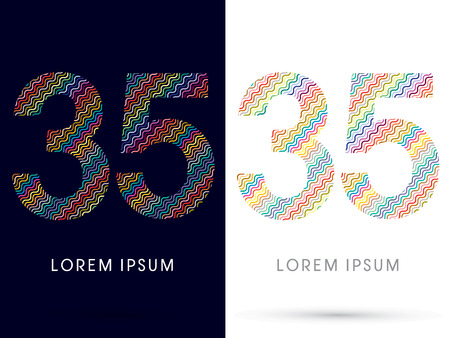 35: 35 ,font, designed using colorful zigzag line, graphic, vector. Illustration