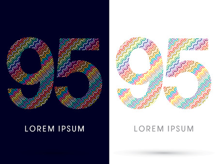 95: 95 ,font, designed using colorful zigzag line, graphic, vector.