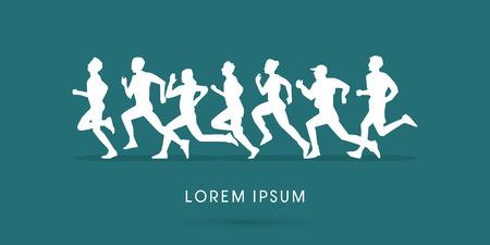 marathon running: Silhouette, Running , Marathon, graphic, vector.