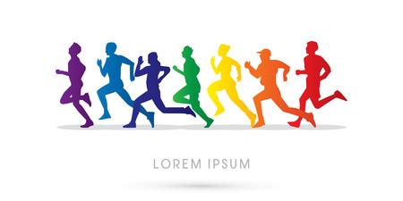 Bieganie, Maraton, zaprojektowany z wykorzystaniem kolory tęczy, grafiki, wektor.