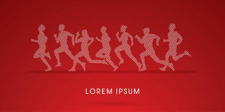 action sports: Running , Marathon, designed using square dot, graphic, vector.
