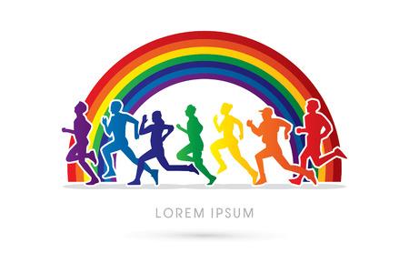 Kleurrijke het lopen, marathon, op regenboog achtergrond, grafisch, vector.