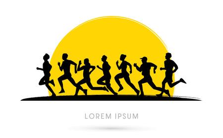 Correr, Maratón, en el fondo la puesta del sol, gráfico, vector.