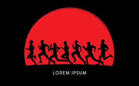 silueta masculina: Correr, Maratón, en el fondo la salida del sol, gráfico, vector. Vectores