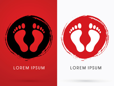 dirty feet: Foot, Footprint , on grunge cycle background, graphic, vector.