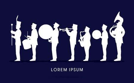jazz drums: Silhouette Marching Band, parade, graphic vector. Illustration