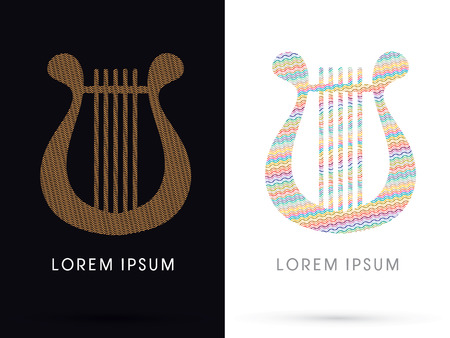 lyre: Harp, Lyre, designed using colorful and gold zigzag line, graphic, vector.