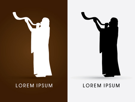 yom kippur: Silhouette, blowing the shofar , graphic vector. Illustration