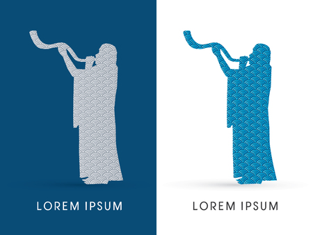 yom kippur: Silhouette, blowing the shofar , designed using water wave, graphic vector.