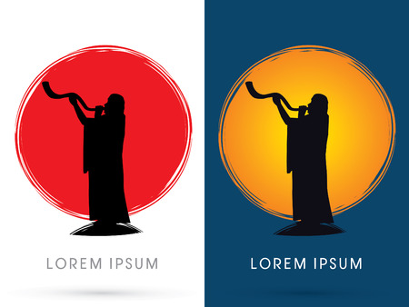 yom kippur: Silhouette, blowing the shofar , on the sun and the moon background, graphic vector.