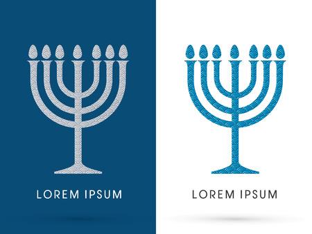 wasserwelle: Menorah Israel Kerze, Entwurf unter Verwendung der Linie Wasserwelle, Vektor-Grafik.