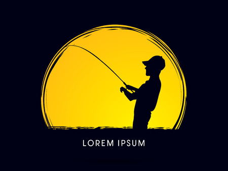 Silhouette, Fishing , on the moon grunge brush background, graphic vector.