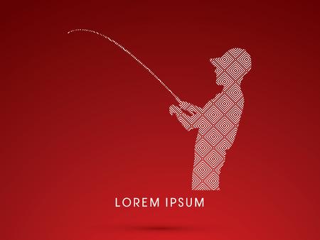 recreational fishermen: Silhouette, Fishing , design using line square, graphic vector.