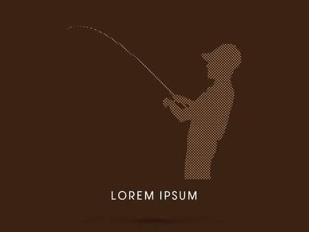 recreational fishermen: Silhouette, Fishing , design using square dot, graphic vector. Illustration