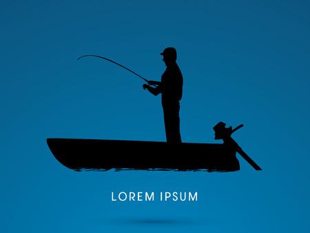 pescador: Silueta, Pesca en el barco, gráfico de vector.
