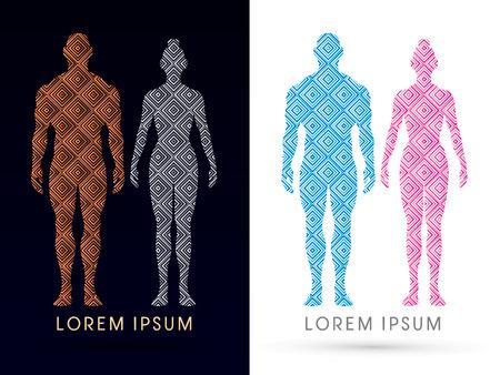 남성과 여성 해부학, 인체, 전신, 라인 광장, 그래픽 벡터를 사용하여 설계되었습니다.