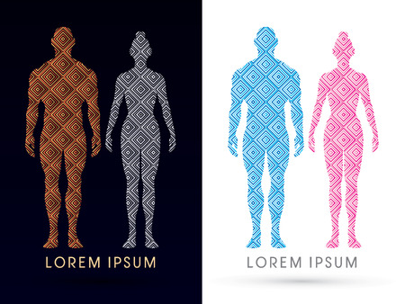 Male and female Anatomy, Human body, full body, designed using line square, graphic vector.
