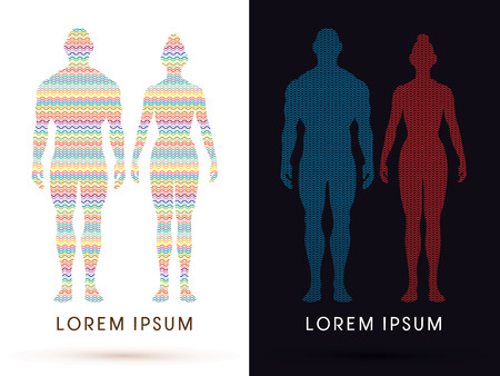 unclothed: Male and female Anatomy, Human body, full body, designed using colorful zigzag line, graphic vector.