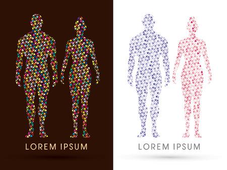 Mannelijke en vrouwelijke Anatomie, Menselijk lichaam, full body, ontworpen met behulp van kleurrijke driehoek mosaïek, grafische vector. Stock Illustratie