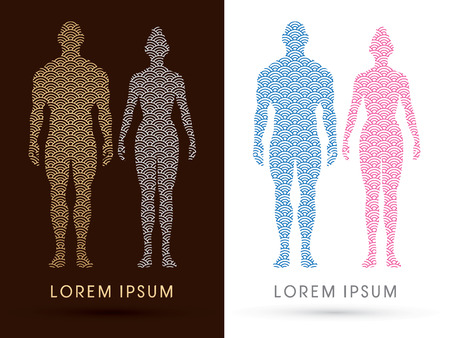 Male and female Anatomy, Human body, full body, designed using water line, graphic vector.